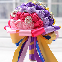 Colorful Bride Holding Flowers Romantic Bridesmaid/Bride Wedding Artificial Floweer Bouquets Gifts