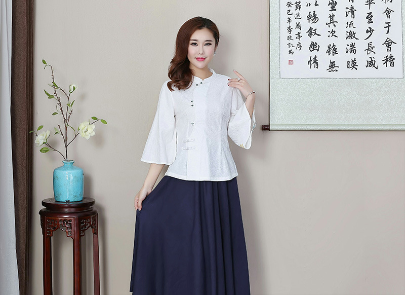 Chinese Traditional Tops Women 39 s Cotton Three quarter Sleeve Shirt Size M to 3XL in Tops from Novelty amp Special Use