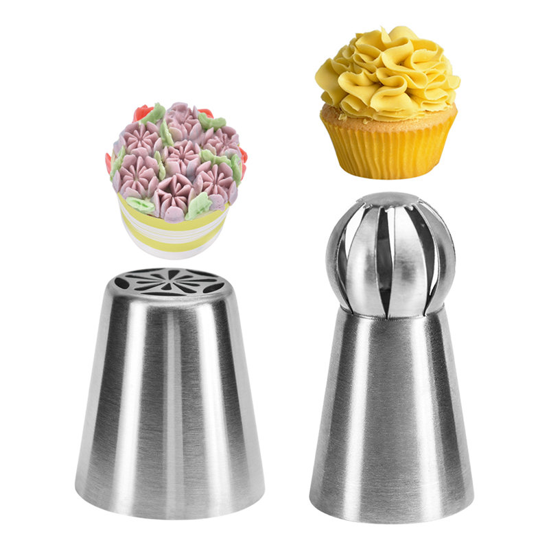 2pc Rose Flower Icing Piping Pastry Nozzle Tips Stainless Steel Russian Ball Cream Tube Cake Decorating Tools Molds