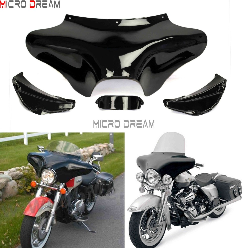 Fiberglass Motorcycles Front Headlight Outer Shades Batwing Fairing Windscreen For Harley Softail Road King FLST FLSTF 1986-2012