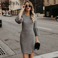 DeRuiLaDy Women Elegant Dress Fashion O Neck Flare Sleeve Three Quarter Gray Mini Bodycon Dresses 2018