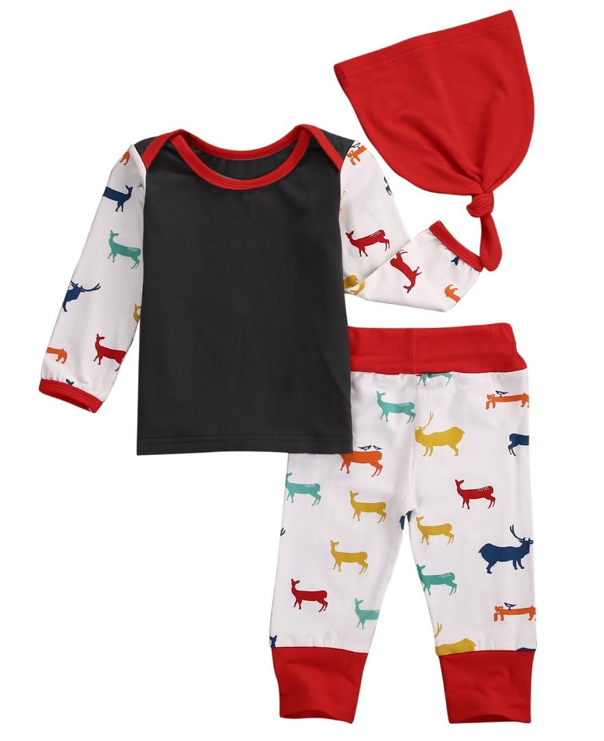 Yüksek Kaliteli Erkek Kız Deer Uzun Kollu Pamuk Top T-Shirt + Geyik Pantolon Şapka 3 adet Bebek Geliyor ev Renkli Kıyafetler Set Kostüm