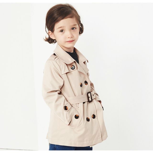 757c2f540 Long Double Breasted Trench Coat Girls Kids Clothing Soft Spring ...