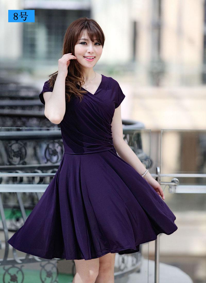 0d1a048a416e 2014 milk silk one piece dress short sleeve V neck plus size L