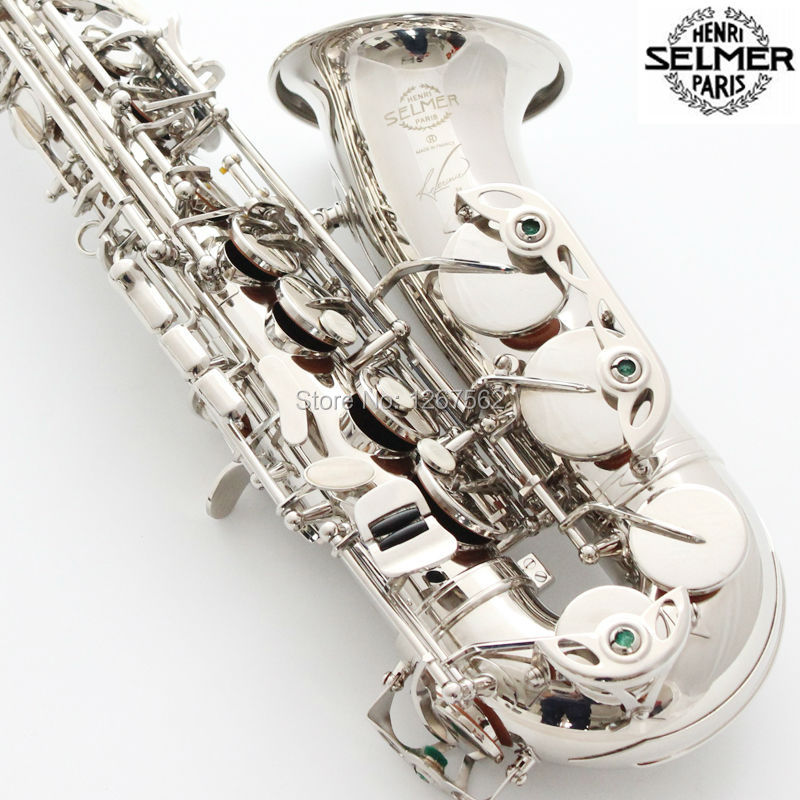Brand New France Selmer Alto Saxophone R54 Professional Eb Nickel Plated Silvering Sax mouthpiece With Case and Accessories brand new france selmer alto saxophone r54 professional e black white key sax mouthpiece with case and accessories