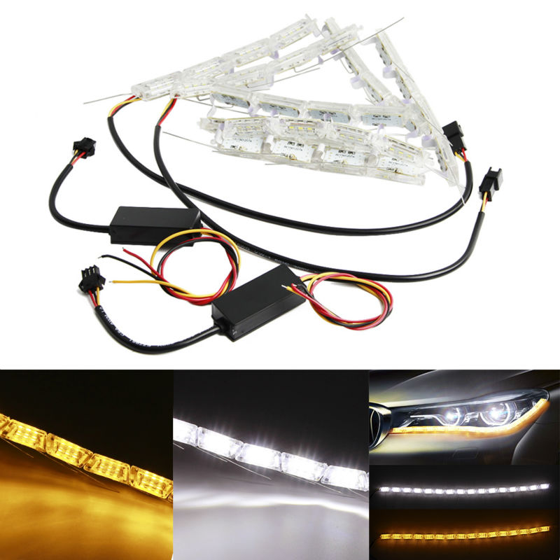 2PC/lot 12V Car DRL LED Daytime Running Light Turn Signal Light yellow steady Double colors Crystal led bar DRL Car Styling new 2 pcs car led daytime running light turn signal light flowing yellow steady auto flexible styling strip crystal led bar drl