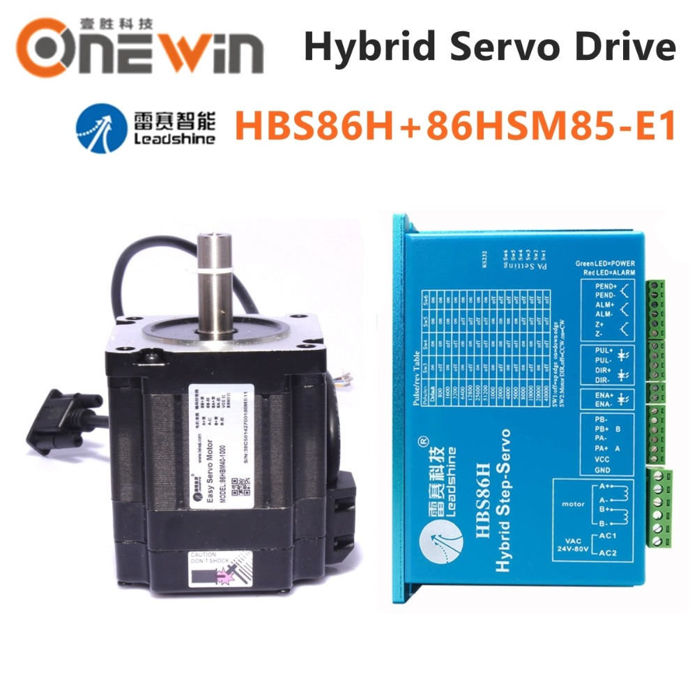 Leadshine HBS86H+86HSM85-E1 8N.M 1144oz-in 2 Phase Closed Loop Hybrid Stepper Motor 86mm Driver 8A 30~100VDC