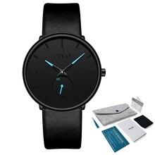 CIVO de moda superior de la marca de lujo de los hombres Ultra delgado de cuero genuino impermeable cuarzo Relojes Para Hombre Deporte pulsera reloj