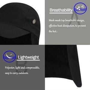 Image 2 - Outdoor UPF 50 Unisex Quick Dry Vissen Hoed Zonneklep Cap Hoed Bescherming Zon met Oor Nek Flap Cover voor wandelen nieuwe