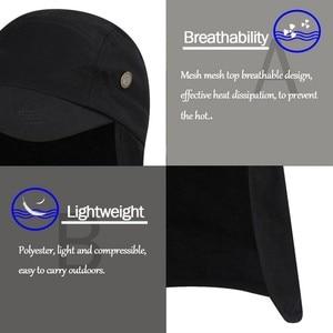 Image 2 - 屋外 UPF 50 ユニセックス速乾性釣り帽子サンバイザーキャップ帽子太陽保護耳ネックフラップカバーハイキング新