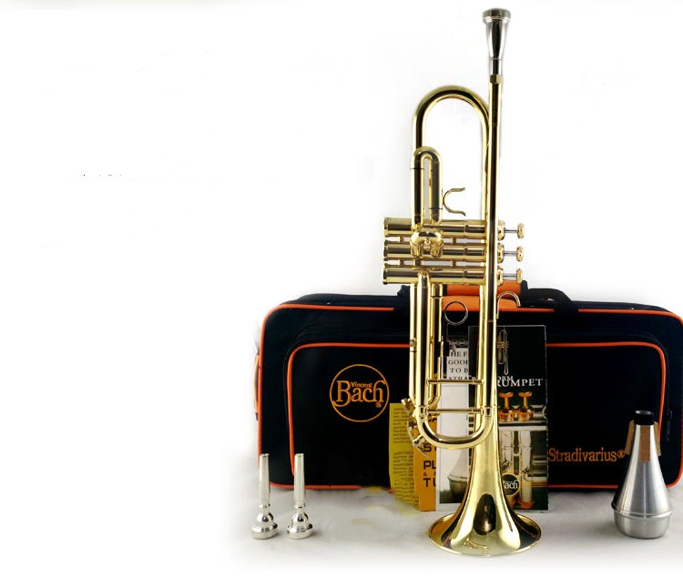 Trumpet High quality LT180S43 Bach B flat trumpet musical instruments Gold Lacquer play music TOP musical brass free shipping trevor pi bach gold