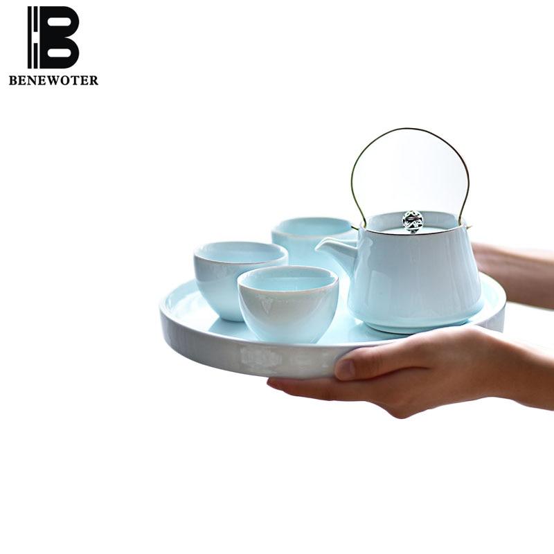 Ensemble de thé en céramique de couleur unie en porcelaine, thé Puer, théière, plateau de thé, assiette ronde pour la cérémonie du thé