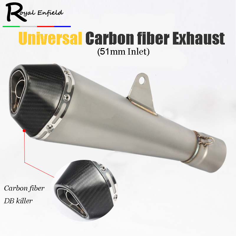 Motorcycle exhaust pipe 36-51mm universal muffler carbon fiber cap for cb1000r TMAX500 TMAX530 ZX-14R T-MAX DX GSX1300R GSXR750 motorcycle exhaust pipe muffler pipe high temperature resistance exhaust akrapovic for xjr fjr 1300 1200 fzr 1000 tmax 530 500