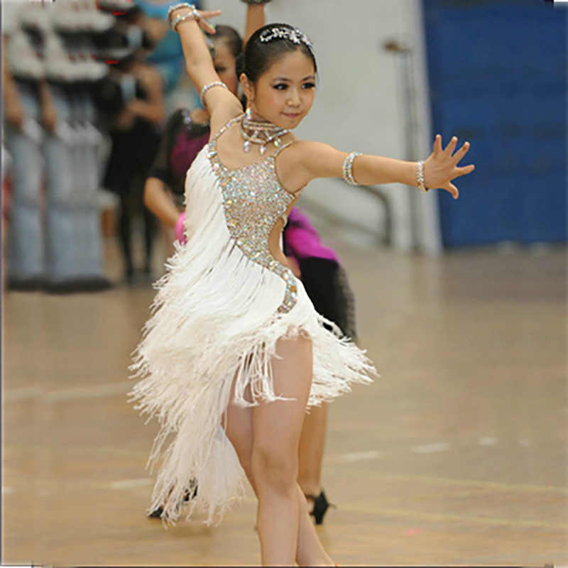 bb55140cc Girls Latin Dance Dress White Tassel Rhinestone Tango Cha Cha Samba Costumes  Competition Ballroom Dance Dresses