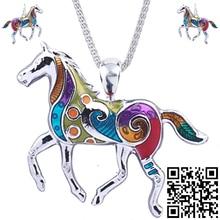 1set Horse Necklaces Earrings Set Alloy Unique Design Gift Animal Pendant Jewelry Sets Rainbow Charm Accessories