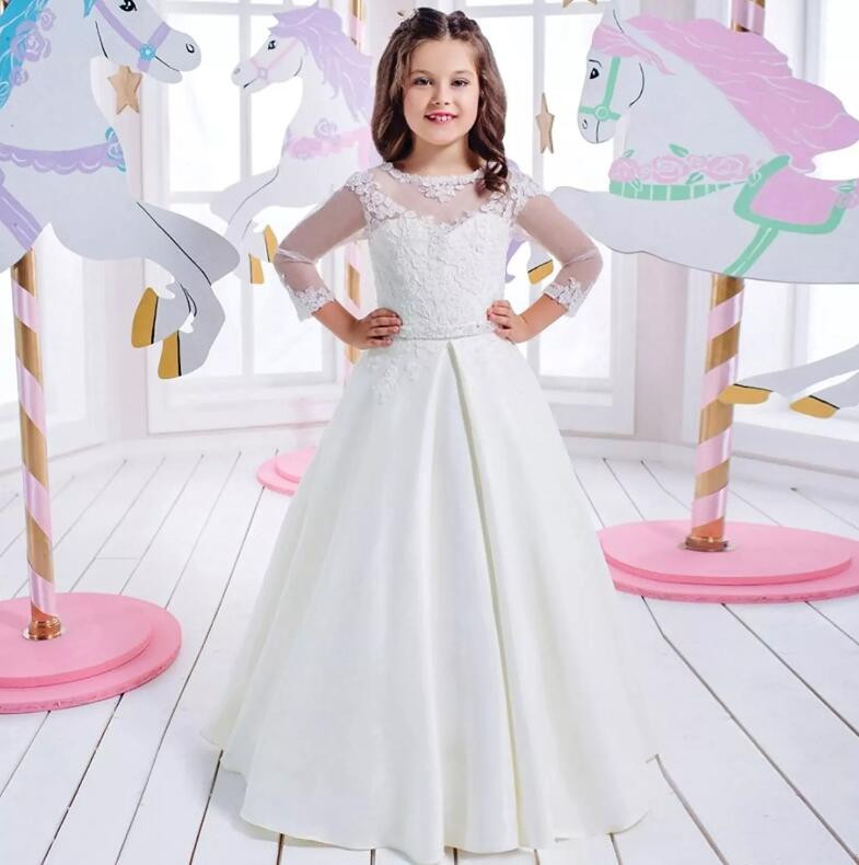 New Arrival Lace Long Sleeve Appliques Flower Girl Dresses for Wedding High Quality White First Communion Dresses