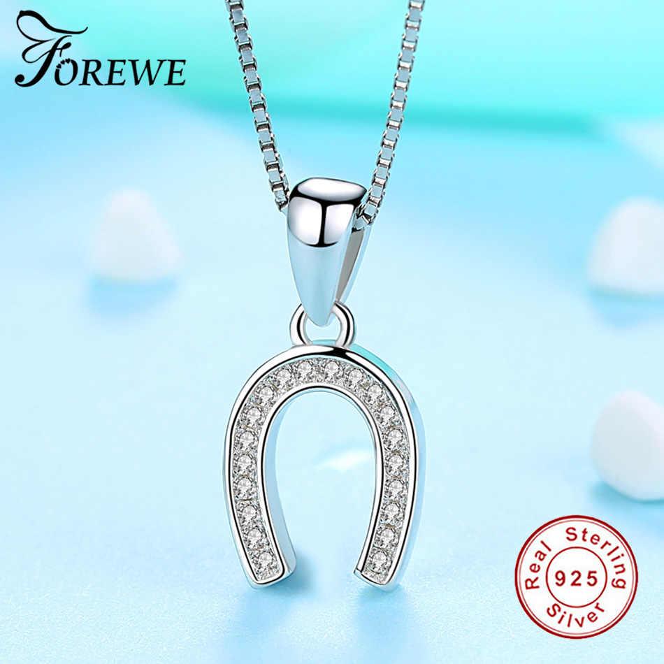 Forewe mode nouveau collier pendentif en fer à cheval chanceux pour femmes bijoux cheval sabot lettre U zircone collier femme cadeau