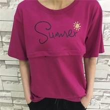 Maternity T-Shirt Short-Sleeve Breastfeeding-Clothing Cotton SUMMER Casual Print Top