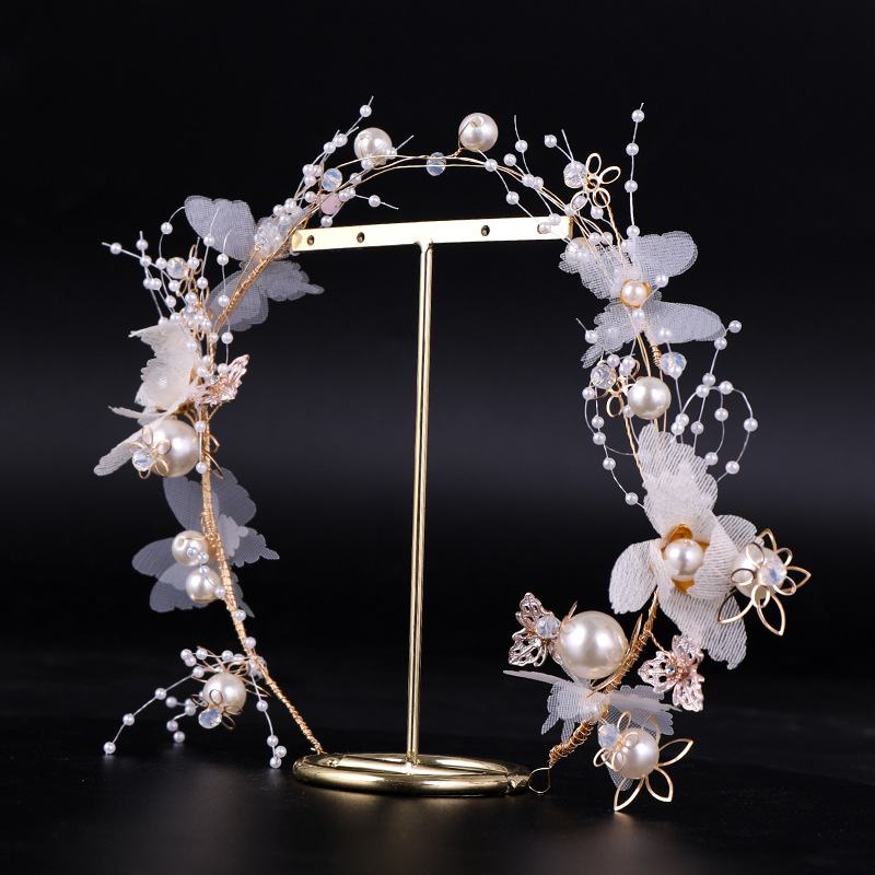 Bohemian Garland New Pearl Bridal Headdress White Net Leaves Crystal Flower Headband Wedding Bridal Wreath Wedding Accessories
