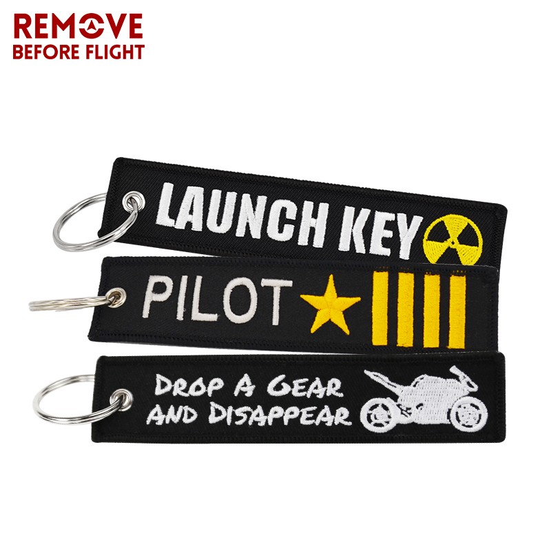 Home & Garden Remove Before Flight Novelty Keychain Launch Buckles Key Chain For Motorcycles And Cars Key Tag New Embroidery Key Fobs