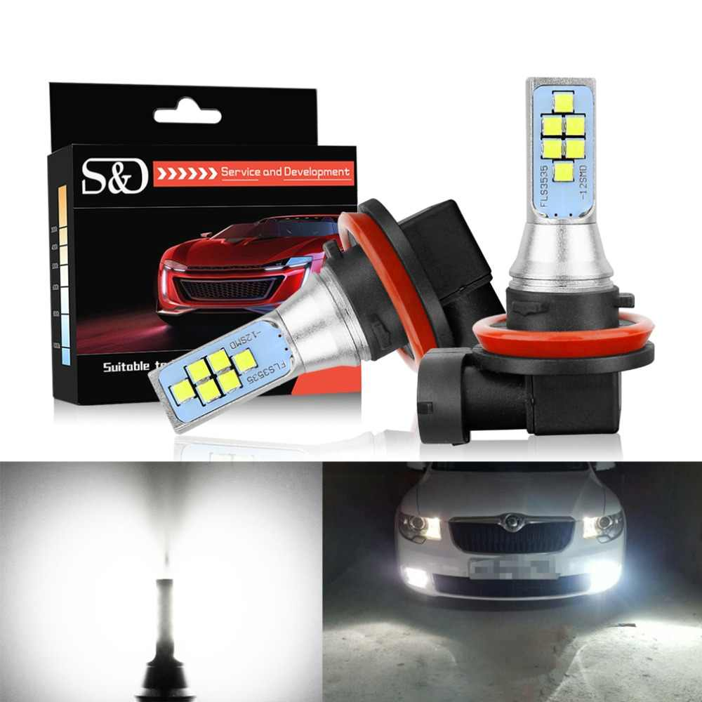 S&D 2pcs LED Fog Bulbs H11 H8 H16 LED Car Light HB3/9005 9006/HB4 5202 PSX24W LED Cars Front Light Auto Lamp 12V 24V