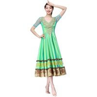Halloween Performance Women Belly Dance Clothes Indian Costume Backless Hand Embroidered Bollywood Dresses Satin Full Skirts