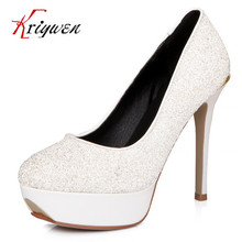 Spring 2017 Fashion Women Pumps Glitter round Toe 12cm thick high heels platforms Ladies Shoes party and wedding pumps female