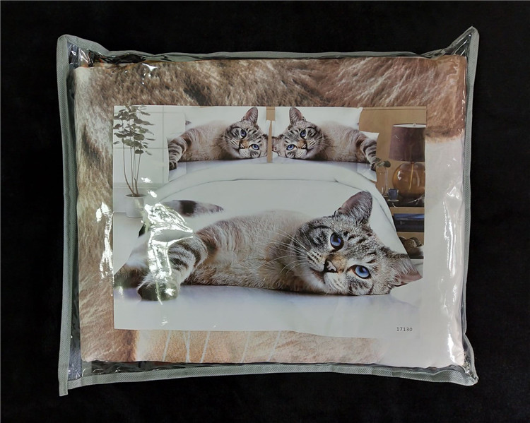 3D Custom Make Printed Animal Cat Flat Bed Sheet 4pcs Queen Size Bedding Set Classic Luxury