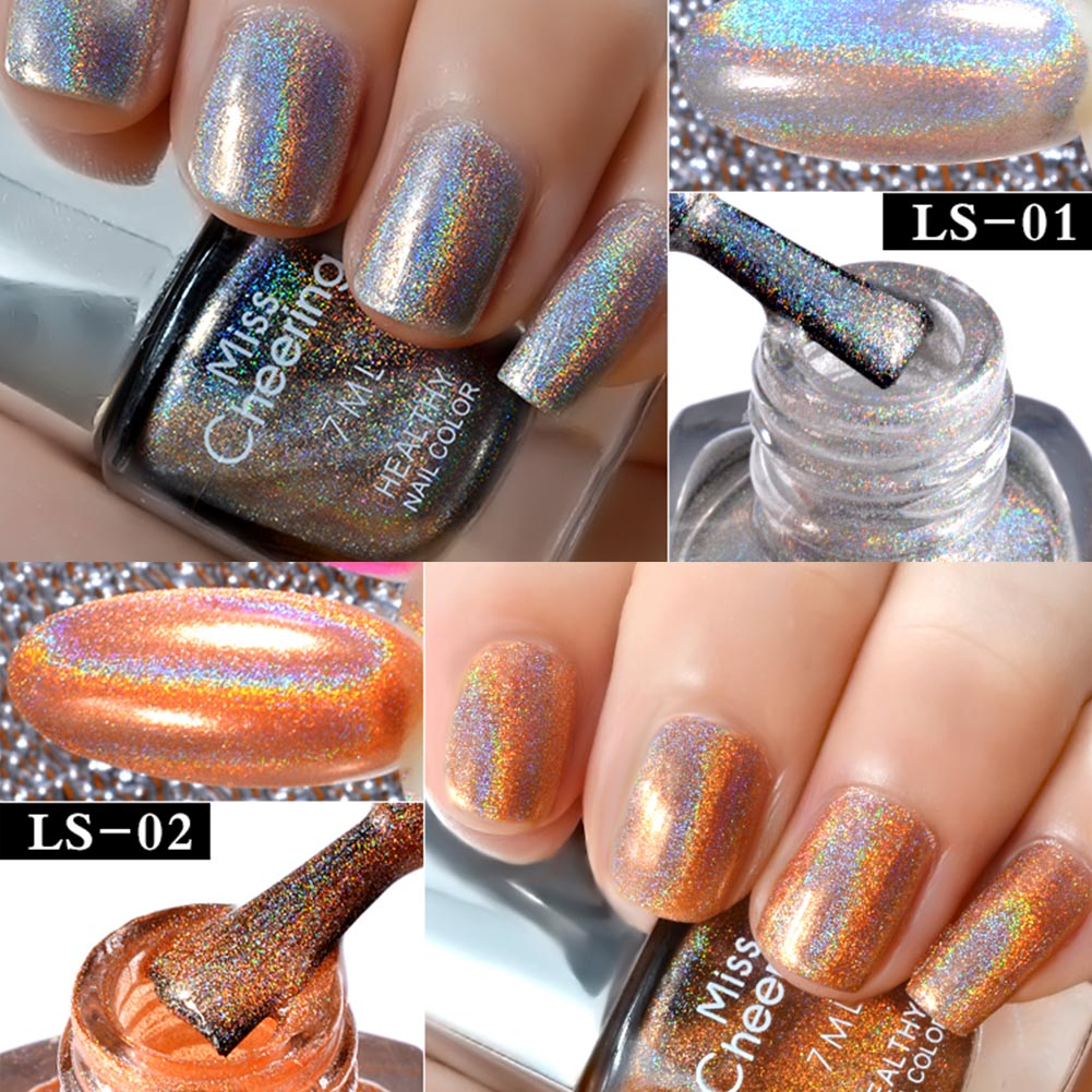 8 Colors Rainbow Mirror Effect Nail Polish Shinning Nail Glitter UV Gel Chrome Pigment Metallic Art Varnish Holographic TSLM2