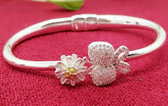JOOCHEER Sterling S990 990 silver Bangle Butterfly Chrysanthemum trendy bracelet