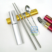 Stainless Steel Tableware Set For Picnic ,Bag With Forks And Spoons For Camping &Hiking Free Shipping