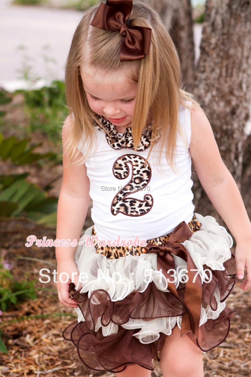 White Top Leopard Satin Lacing 2nd Leopard Birthday Number Brown Bow Leopard Waist Cream White Brown Petal Pettiskirt MAMG698 baby golden brown pettiskirt golden ruffle brown bow white top shirt set 3 12m mapsa0289