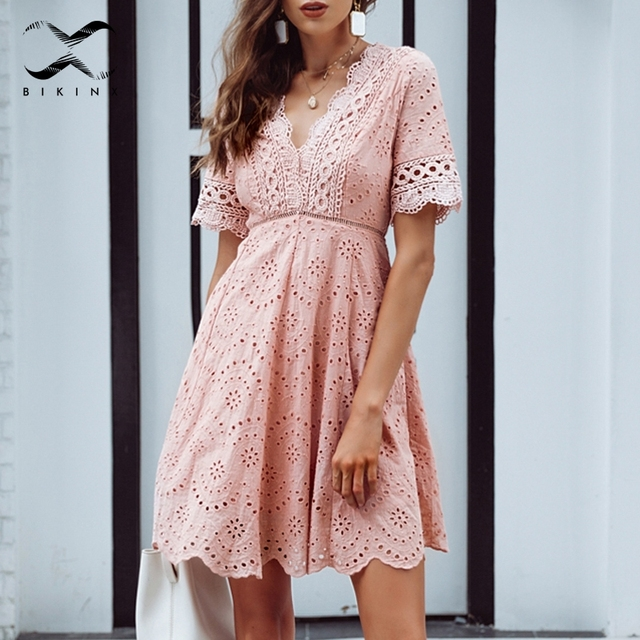 c4e769adbf Best Price Bikinx Embroidery tunic v neck beach dress Cotton cover-ups pink  women dress