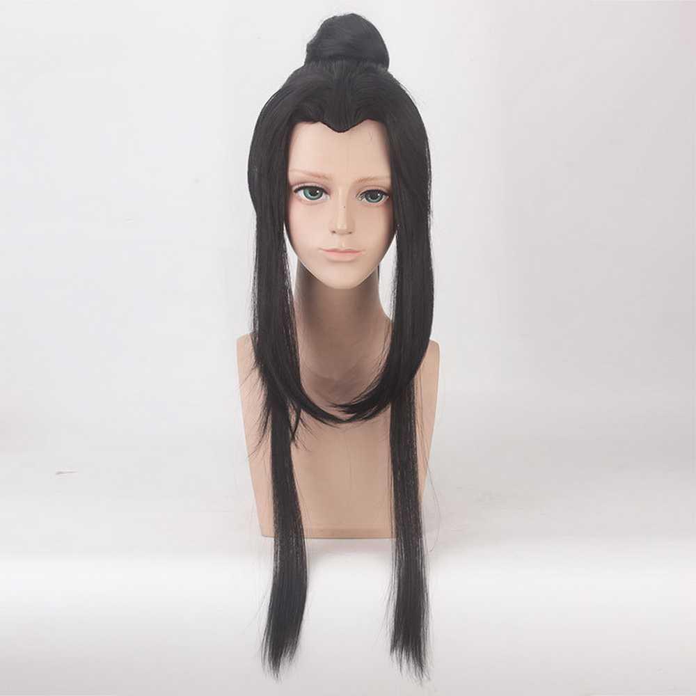 100 cm starożytny chiński styl włosy mężczyźni wojownik długa prosta czarna peruka do cosplay szermierz Costume zagraj peruki na imprezie z okazji Halloween