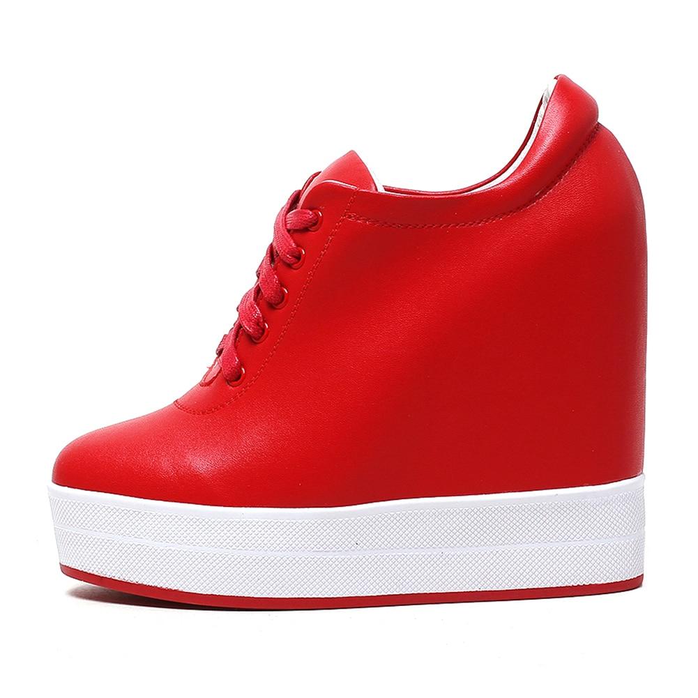 forme Chaussures Qualité Croissante Haute Hauteur rouge 31 Sneakers 40 Talons Doratasia Véritable Cuir up Femme En 2019 Automne blanc Dentelle Noir Plate Femmes fwn6OI