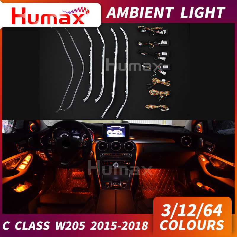 For C class w205 C63 C200 C250 car interior accessories ambient lamp w205 Atmosphere lighting decorate colorful 3 /12 /64 colorsFor C class w205 C63 C200 C250 car interior accessories ambient lamp w205 Atmosphere lighting decorate colorful 3 /12 /64 colors