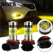 2pc 20LED Car DRL Car Headlight Fog Lights Lamp Yellow Gold Color H8/H11 Super Bright 2828SMD 100W Super led Bulbs(China)