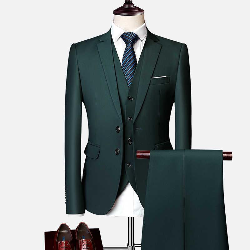 スーツスーツ男性 2019 春と秋のハイエンドカスタムビジネスブレザースリーピース/スリム大サイズマルチカラーブティックスーツ