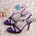 Wedopus Горячий Продавать Лето Пром Обувь Фиолетовый Сатин Сандалии На Высоком Каблуке с Открытым Носком