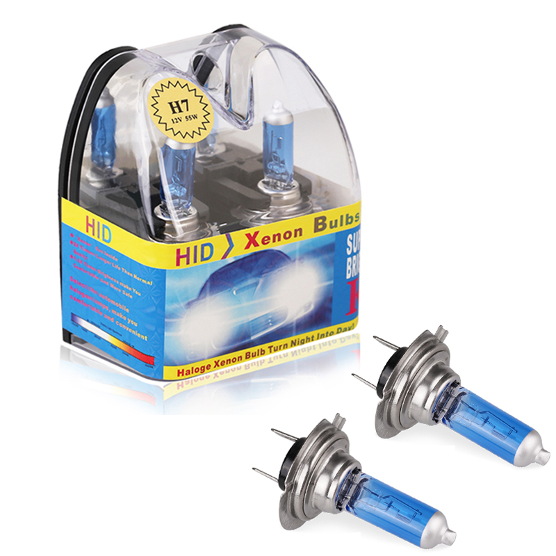 2pcs H7 55W 6000K White Halogen Bulbs 12V H7 55W Car Light Source Parking Car Headlight Fog Lights Super Bright Halogen