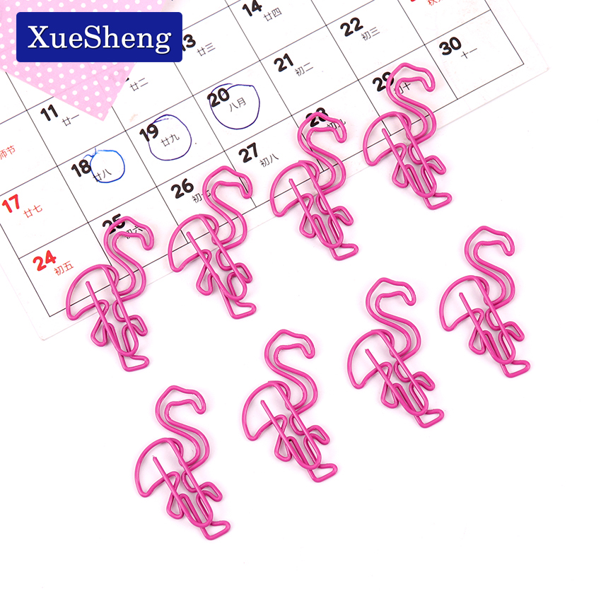 5PCS Beautiful Flamingo Bookmark Planner Paper Clip Metal Material Bookmarks For Book Stationery School Office Supplies