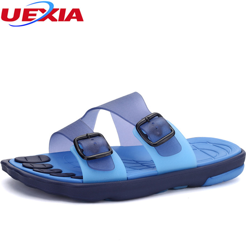 UEXIA Men Flip Flops Male Mixed Color Slippers Casual PVC EVA Shoes Summer Fashion Beach Summer Buckle Breathable Beach Massage стоимость