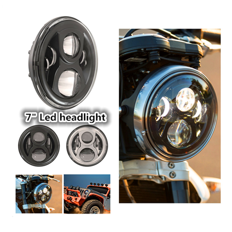 7 Inch Harley Motorcycle Accessories 7 Motorcycle Black Projector Daymaker Headlight H4 Hi/Lo Beam LED Light Bulb For Harley 7inch 75w motorcycle black hi lo beam projector daymaker led chips headlight for harley