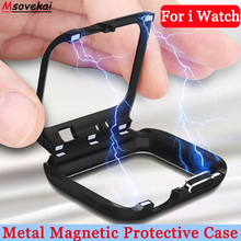 Magnet Bumper Frame Cover For Apple Watch Series 4 3 2 1 40mm 44mm iWatch 42mm 38mm Metal Magnetic Protective Cases Flip