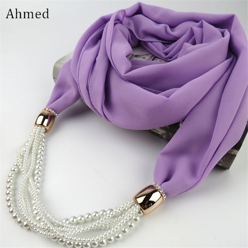 Ahmed New Design Multi Layers Pearl Chiffon Scarf Necklace For Women Fashion Long Collar Necklace Charm Head Scarves Jewelry 2018 women scarf muslim hijab scarf chiffon hijab plain silk shawl scarveshead wrap muslim head scarf hijab