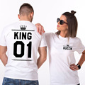 Free Shipping Summer King Queen Printed Tumblr Lovers 2017 Women/Men Couple T-shirt Female Sexy Tops Shirts Large Size 3XL XXXL