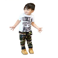 Like A Boss Kids Summer Outfits Casual Toddler Baby Kids Boys Camouflage Clothes Set T Shirt
