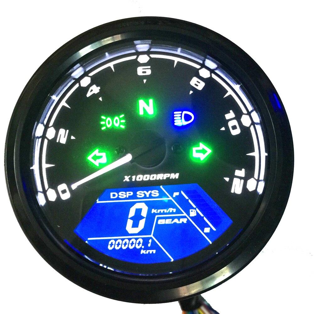 Multifonctionnel Kilométrage Moto LCD Compteur Numérique Modifié Compteur Tachymètre Étanche Moniteur de Carburant Jauge Tachymètre
