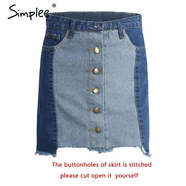 Simplee High waist blue denim skirt Women summer vintage fringe buttons A-line short skirt Summer tassel basic women skirts 2017