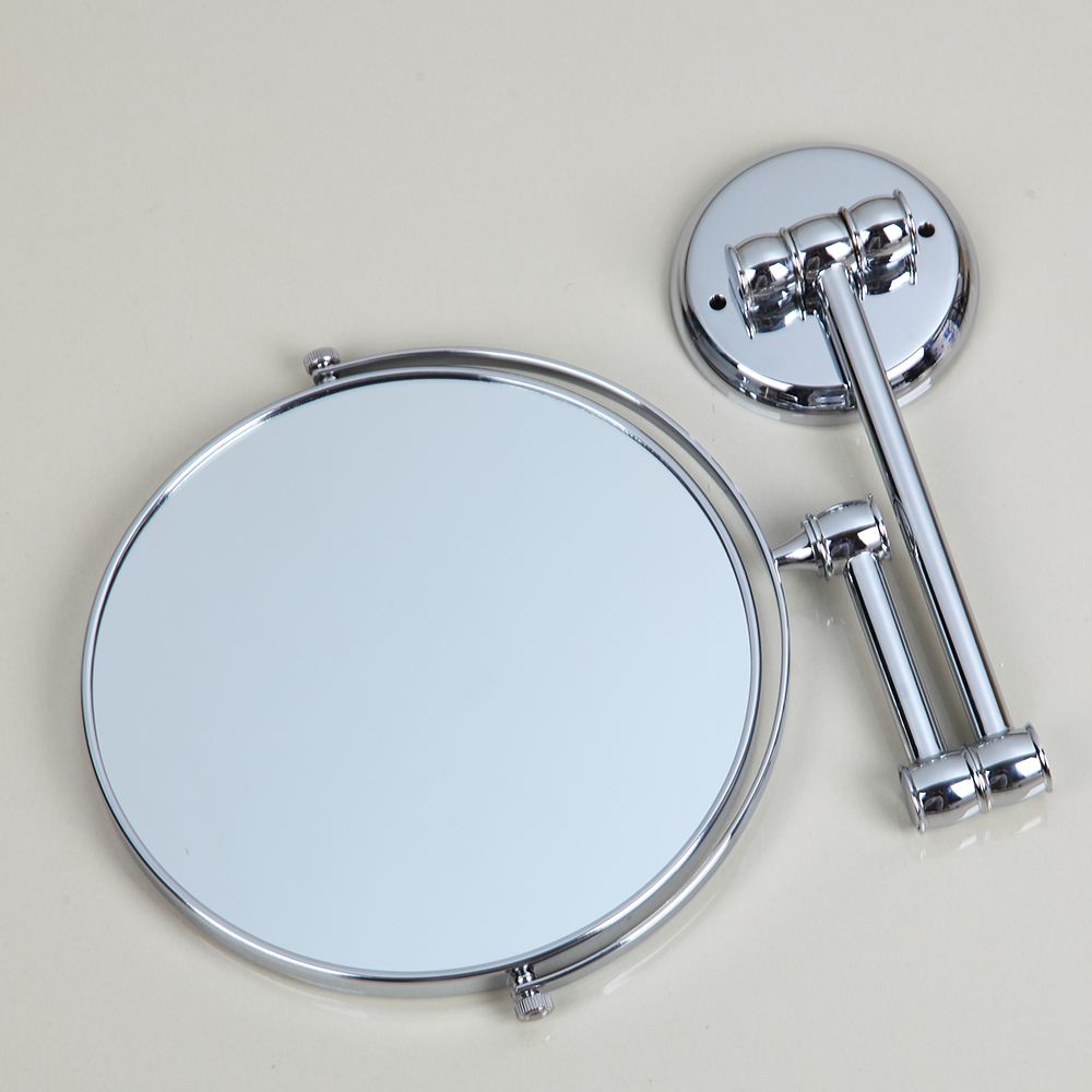KEMAIDI Chrome Round Double-sided 3X Magnifying Mirror 8 Wall Mirror Vanity Mirror Bathroom Compact Mirror Foldable Style